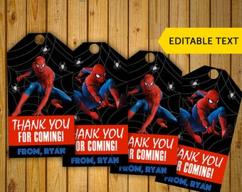 Spiderman Thank You Tags Cards Editable Text Superhero Birthday Party Printables Digital