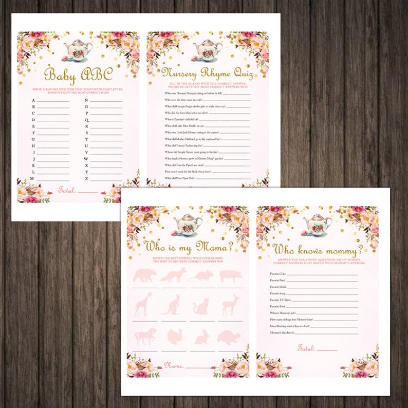 Instant Download Tea Party Baby Shower Games Printable Pack Baby Shower Games Tea Party Baby Shower Games Girl Tea Baby Shower Games Pack