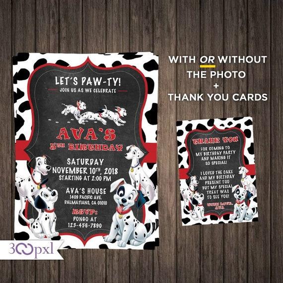 Printable Or Printed 101 Dalmatians Party Invites 101 Etsy