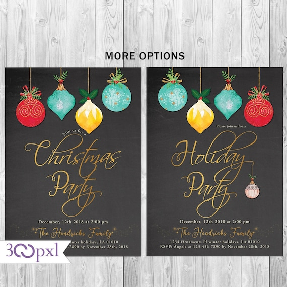 Office Christmas Party Invitation.Christmas Party Invitation Holiday Party Invitation Family Holiday Invite Office Holiday Christmas Party Invitation Gold Glitter Ornaments