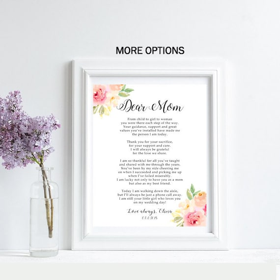 Mother of the Bride Gift Mother of the Bride Poem Mother of Bride Print  Personalized For Mom Wedding Gift Mum Wedding Thank You Printed Card