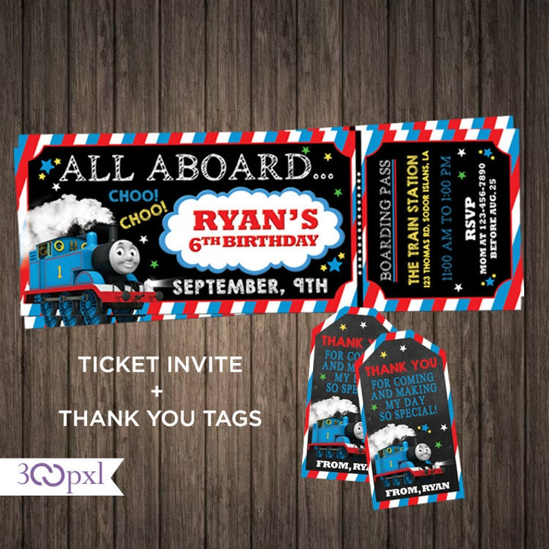 Thomas The Train Birthday Invitations Invitation Ticket Invite