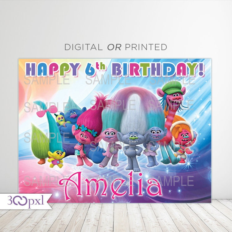 Birthday Sign Ups: Trolls Birthday Backdrop Banner Trolls Background Poster