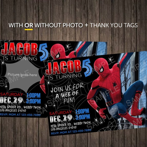 Printable Or Printed Spiderman Invitation With Photo Digital Etsy