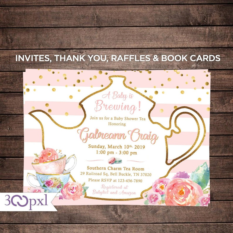 Tea Party Baby Shower Invitation A Baby Is Brewing Baby Shower Etsy