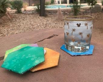 Hexagon Coasters Mug Rug Hand Sewing Pattern for Home Decor