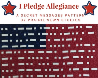 I Pledge Allegiance Quilt Pattern  Wall Hanging Morse Code Patriotic Flag Quilt
