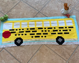Back to School Quilt Pattern Wall Hanging Morse Code School Bus