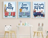 Set of three 8x10 inch prints with a verse from Micah / Scripture prints / Kids scripture art / kids bible verse print