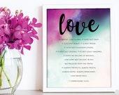 Corinthians love print Scripture prints / Scripture wall art / scripture posters / bible verse prints / bible verse wall art