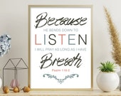 8x10 inch Scripture Print / Psalm Print / Christian Gifts / Bible Verse / Quote Print / Bible / Psalm /