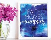 Faith Moves Mountains / Scripture prints / Kids scripture art / kids bible verse print