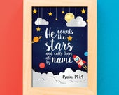 He counts the stars and calls them all by name / Scripture wall art / Scripture prints / Kids scripture art / kids bible verse print