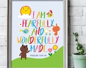 I am fearfully and wonderfully made print 8x10 inches / Scripture prints / Kids scripture art / kids bible verse print / Scripture wall art