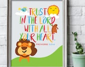 Trust in the Lord with all your heart 8x10 inch print / Scripture prints / Kids scripture art / kids bible verse print