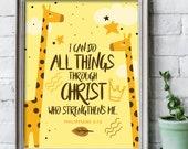 8x10 inches I can do all things through Christ Giraffe print / Scripture prints / Kids scripture art / kids bible verse print