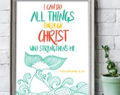 I can do all things through Christ 8x10 inches whale print / Scripture prints / Kids scripture art / kids bible verse print