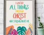 I can do all things through Christ 8x10 inches leaf print / bible art / scripture verse print / Scripture wall art