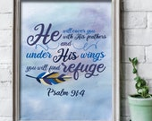He will cover you with his feathers / scripture wall art / scripture prints / scripture posters / bible verse prints / scripture