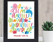 I am fearfully and wonderfully made 8x10 inch print / scripture wall art / scripture prints / kids bible verse print / kids scripture art