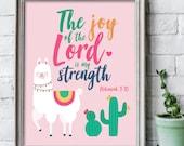 Llama print / The joy of the Lord is my strength / scripture wall art / scripture prints / kids bible verse print / kids scripture art
