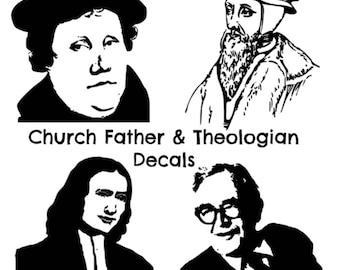 Theologian, Church Fathers, Indoor/Outdoor Car Laptop Phone Window Decal Sticker - John Wesley, Karl Barth, John Calvin, Martin Luther