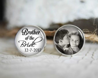 Custom Brother of the Bride Cuff Links,Brother Wedding Cufflinks,Personalized Wedding Cuff Links,Customized Cabochon Gift,Black and White