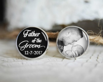 Father of the groom personalized photo cufflinks, cool gifts for men, custom wedding silver plated or black cuff link