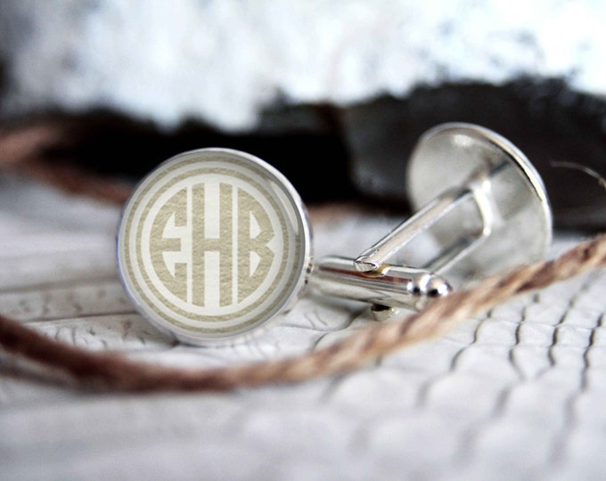 cool gifts for men custom wedding silver plated or black cuff link IN11 Monogrammed initials personalized cufflinks