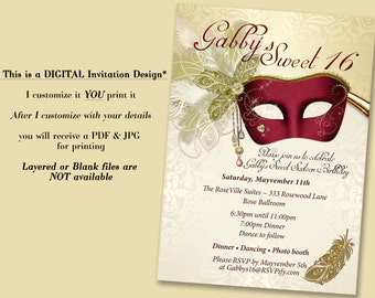 Masquerade Invitation Sweet 16 Maroon Party Invitations Quinceanera