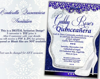 CinderBella Invitation Princess Party Invitations Birthday Sweet 16 Quinceanera Invites