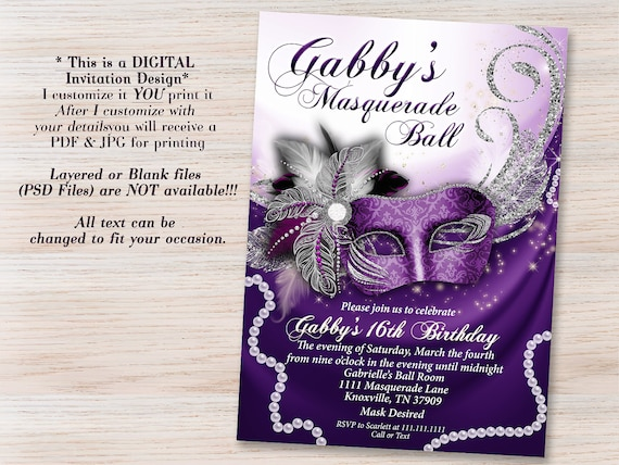 Purple Masquerade Invitation Mask Invitations Party Sweet 16 Quinceanera