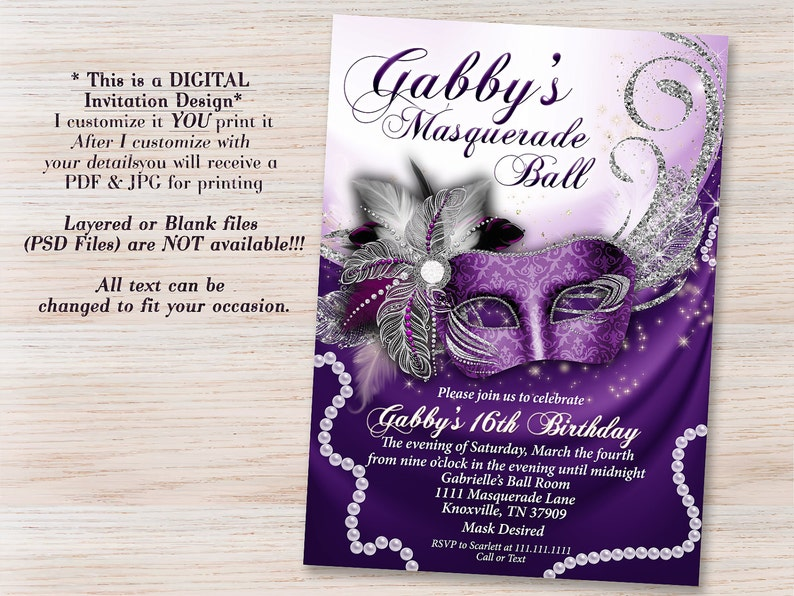 Purple Masquerade Invitation Mask Invitations Party Sweet 16 Quinceanera