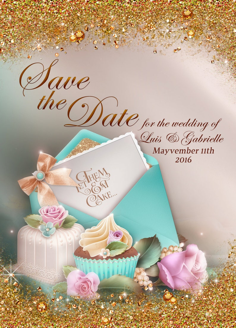 Teal Save the Date Wedding Save The Date