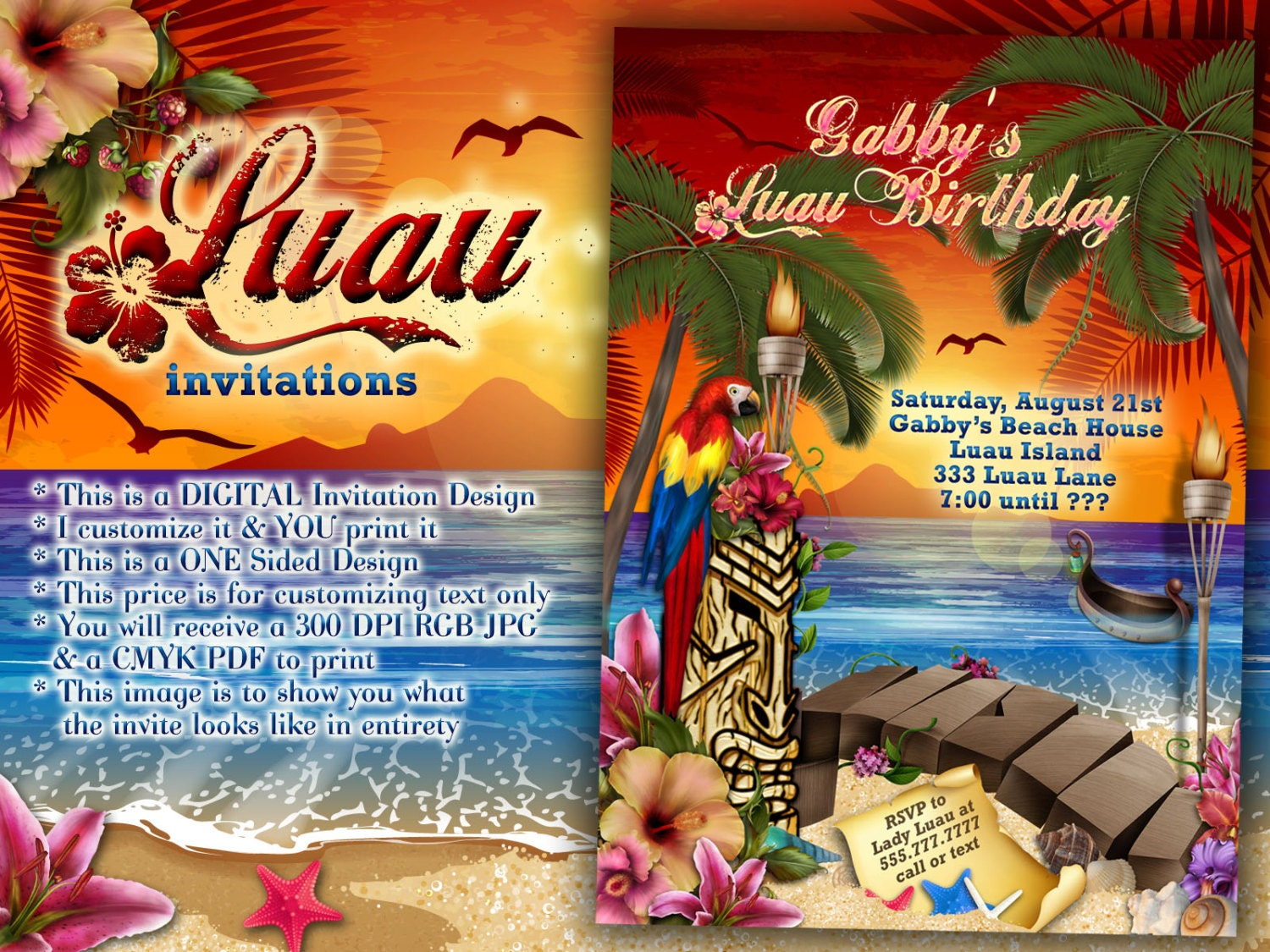 Luau Party Invitations Hawaiian Theme Beach Birthday