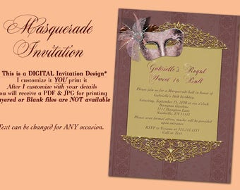 Masquerade Invitation sweet 16 Maroon Masquerade Masquerade