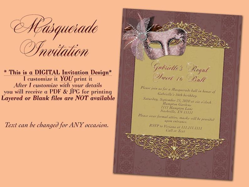 Masquerade Invitation Mardis Gras Invitations Masquerade Etsy