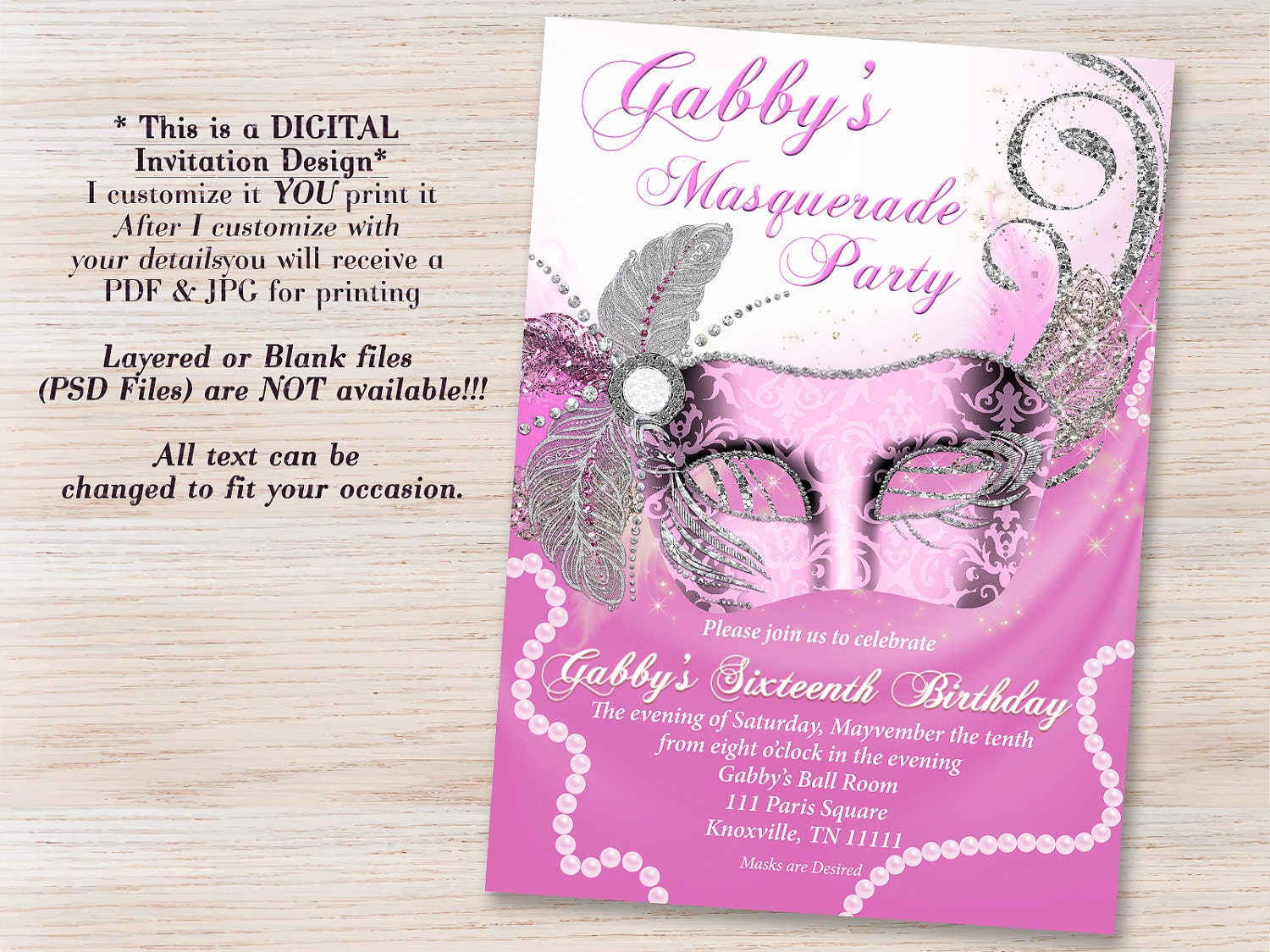 Pink Masquerade Invitation Mask Invitations Party Sweet 16 Quinceanera