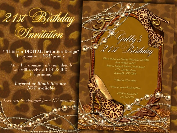 21st birthday invitation leopard invitation leopard print etsy