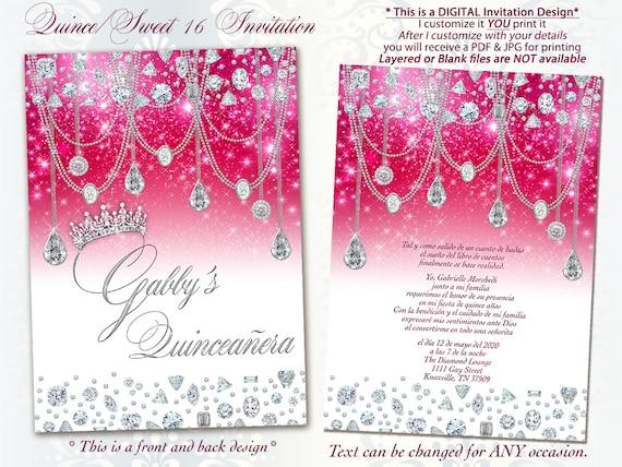 diamond invitation sweet 16 invitation quinceanera bling etsy