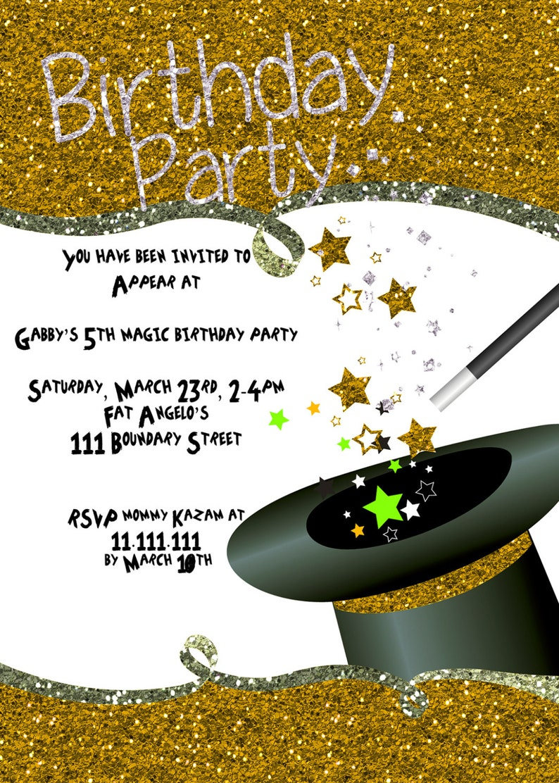 Magic Party Invitation Children Birthday