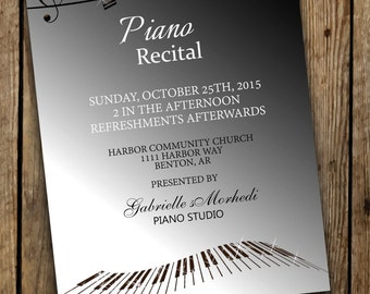 Music Birthday Invitation Music Recital Invitation Recital