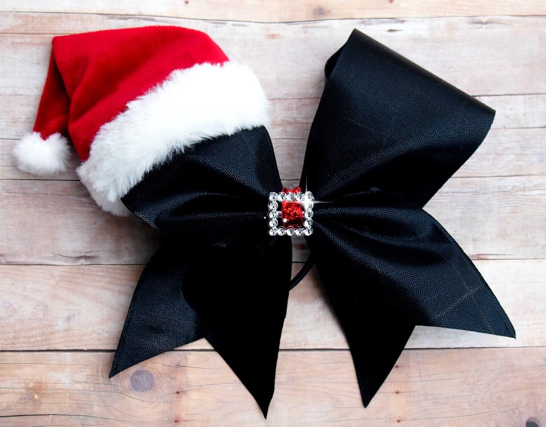 Santa cheer bow Christmas cheer bow Santa hat cheer bow | Etsy