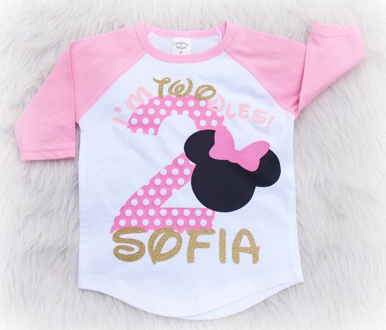 I'm Twodles  second birthday shirt  Minnie Mouse second image 0