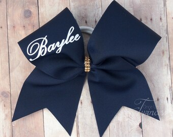Personalized Cheer Bow with your name, Navy cheer bow, cheer bow with glitter words, bows for cheer teams, competition cheer bows for teams
