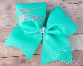 Cheer Bow - Aqua cheer bow - cheerleading bows - dance bow - softball bow - gifts for cheerleaders- gifts under 10 dollars - christmas gift
