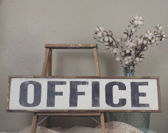 Office Sign Farmhouse Style Decor Wood Kitchen Distressed Wall Rustic