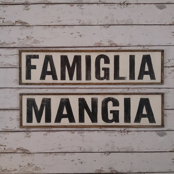 Two Signs Cucina Sign Italian Kitchen Sign Italian Decor Mangia Sign Famiglia Sign Custom Wood Sign Italian Sign Kitchen Sign Bundle