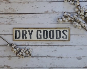 Dry Goods Sign, Farmhouse Style, Farmhouse Decor, Kitchen Sign, Pantry Sign, Distressed Wood Sign, Kitchen Wall Decor, Rustic Wood Sign