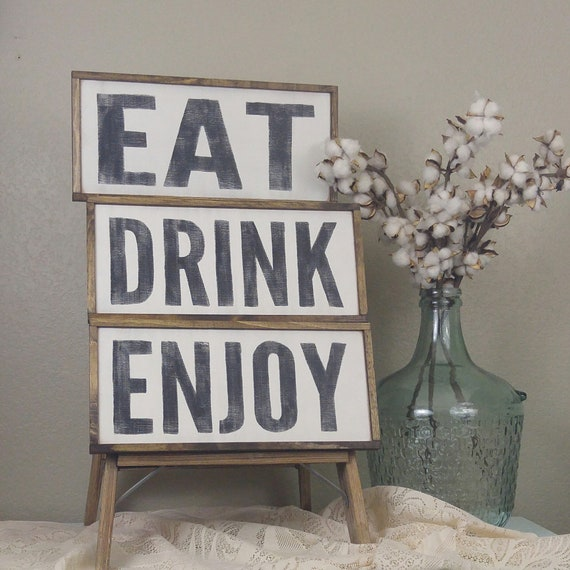 Eat Drink Enjoy Signs, Kitchen Wall Decor, Farmhouse Kitchen, Wash Relax  Soak Signs, Bathroom Signs, Wash Dry Fold Signs, Laundry Signs